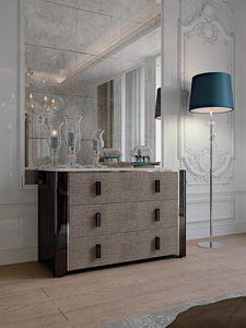 Hotel de Ville Anrichte, Luxus Kommode mit Schubladen mit Leder bezogen