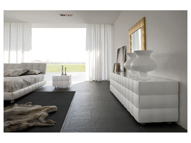 VENICE NOTTE bedside table, Kommoden aus Holz, mit Glasplatte, für Schlafzimmer