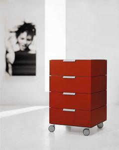 PRISMA comp.01, Schubladen mit Rädern im minimalistischen Stil, für das Büro