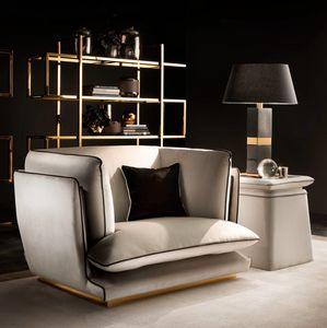 ALLURE Sessel, Sessel mit poliertem Metallgestell