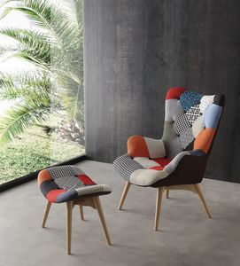 Art. 420 Sweethome, Gepolsterte Sessel mit Holzboden, Patchwork Polsterung