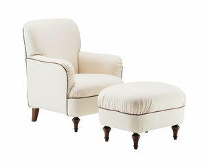 Violetta, Bequemer Sessel mit Sitzpuff, klassischer Stil