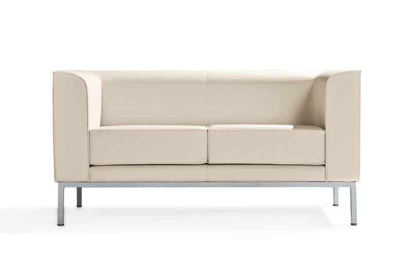 Korall, 2-Sitzer-Sofa mit bemalten Aluminiumfüße