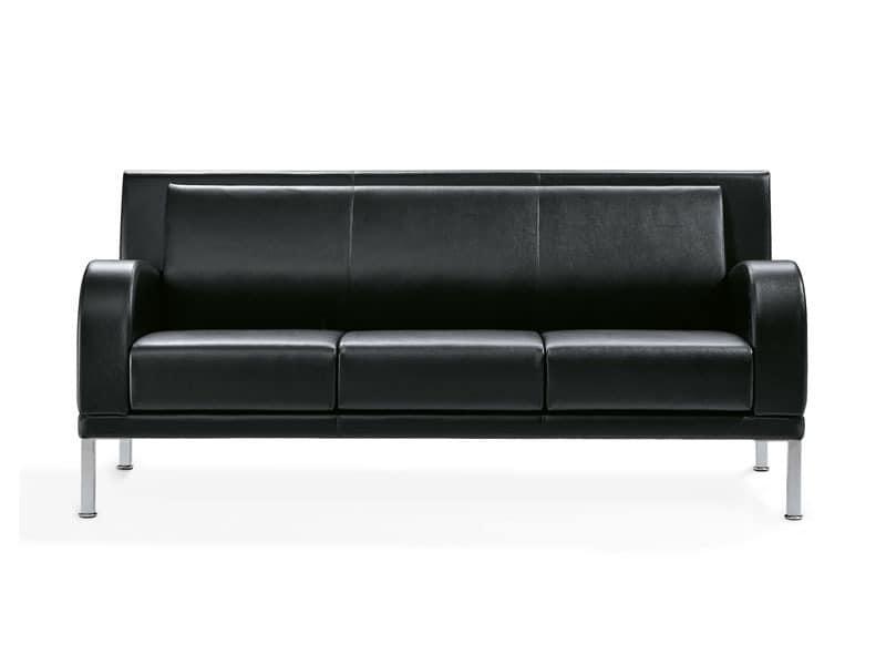 Kristall, 3-Sitzer-Sofa mit Stahlfüßen, für Wartebereiche