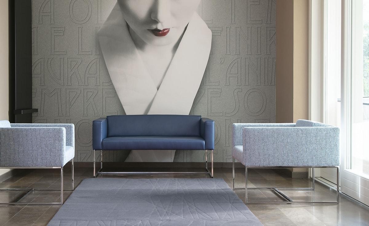 Square sofa, Sofa mit Vierkantrohr aus Stahl, für Wartezimmer