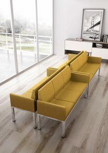 Tre-Di 3 seats sofa with padded armrests 99903, 3-Sitzer-Sofa für Warteräume und Büros
