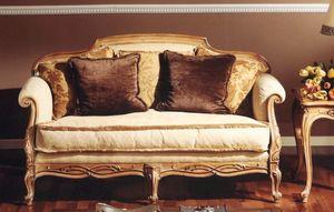 3110 Sofa, Klassisches Sofa mit Schnitzereien
