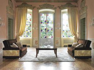 Grand Etoile Art. GE2SEDUTE, Sofa mit geschnitzten Blattdekoration