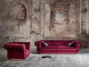 Opera Sofa, Kapitoniertes Sofa, bezogen mit Samt oder Leder