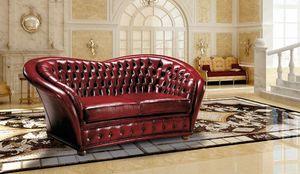 VERSAILLES, Tufted Sofa mit Leder bezogen