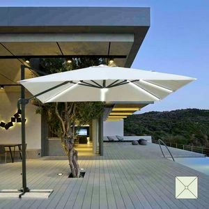 Garten Sonnenschirm mit LED Solarleuchte 3x3 Quadrat Aluminium Arm PARADISE - PA303UVL, Sonnenschirm mit LED-Licht und integriertem Solarpanel