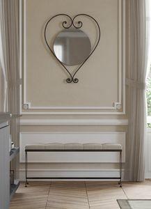 Cuore, Wandmontierter Spiegel aus Eisen