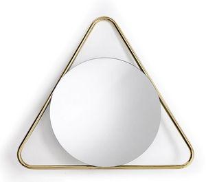 Frame T, Runder Spiegel mit dreieckigem Rahmen