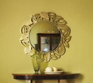 Grand Etoile Art. GE010, Runder Spiegel mit Blattrahmen