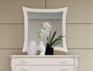 MONTE CARLO / Spiegel, Spiegel mit weiß lackiertem Rahmen