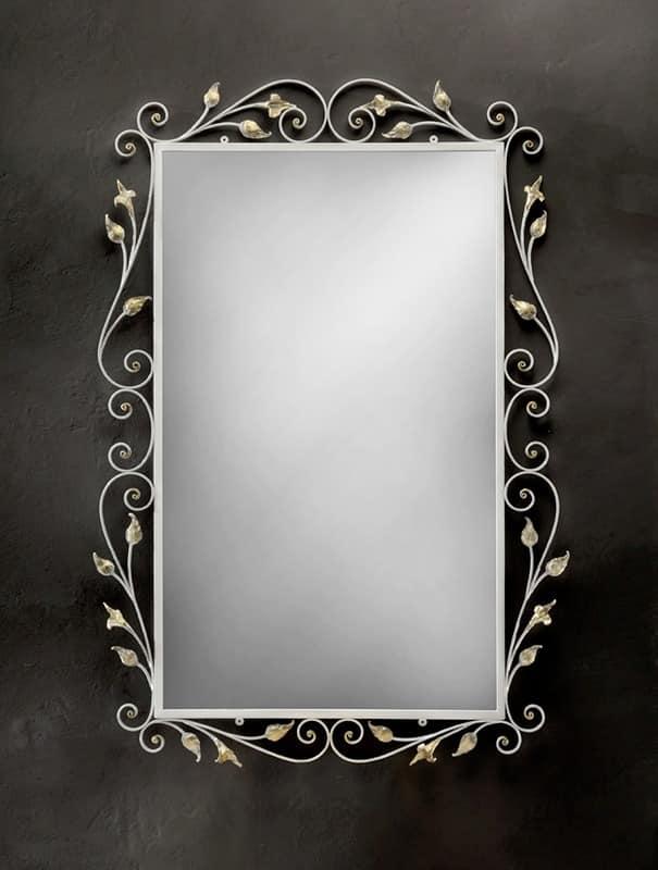 SP/310, Rechteckiger Spiegel mit Rahmen aus Schmiedeeisen