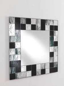 Specchio 05, Quadratischer Spiegel mit Mosaik-Rahmen