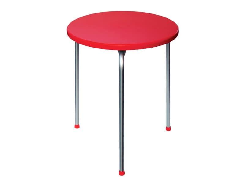 Table Ø 60 cod. 04, Stapelbar Tisch mit drei Beinen aus eloxiertem Aluminium