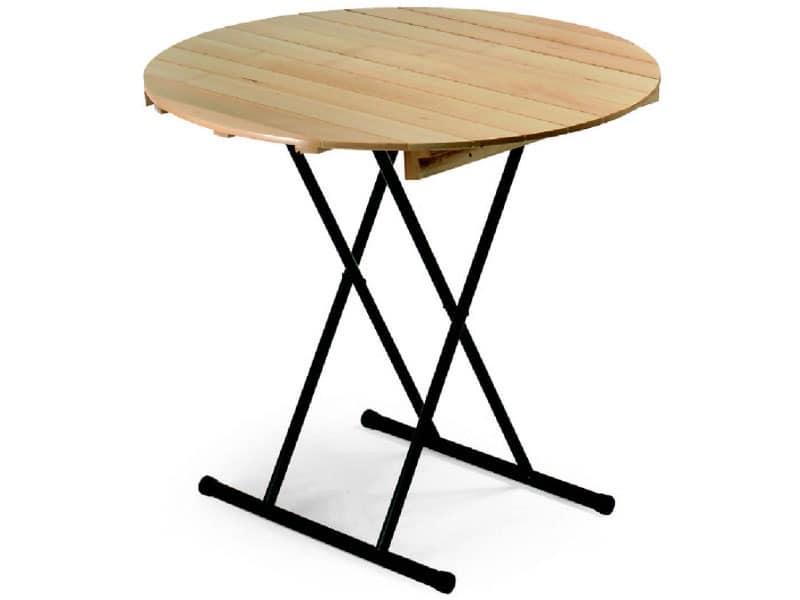 Table Eva, Klapptisch, wiwth runde Oberseite, für Bankett