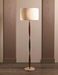 AMMOS HL1006WFL-1, Bodenlampe aus Messing mit Lampenschirm