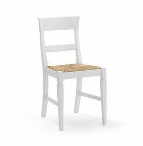 IMPERIALE 700, Weißer Stuhl mit Strohsitz