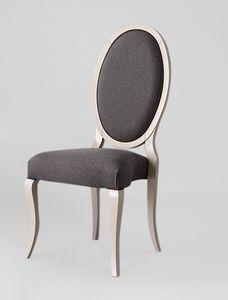 S16, Eleganter Stuhl mit ovaler Rückenlehne