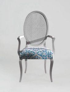 S16PCANNA, Stuhl mit Armlehnen, ovale Rohrrückenlehne