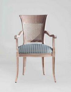 S18P, Klassischer Stuhl mit Armlehnen und Rohrrücken