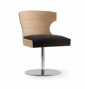 XIE SIDE CHAIR 052 S F, Stuhl mit Holzschale und Metallscheibe