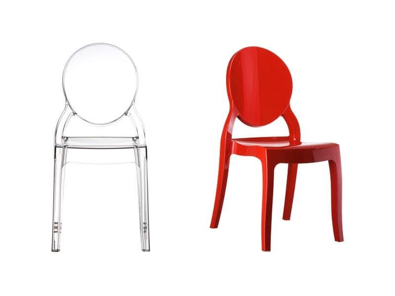 Elizabeth, Kunststoff-Stuhl mit ovalem Rückenlehne, für den Außenbereich