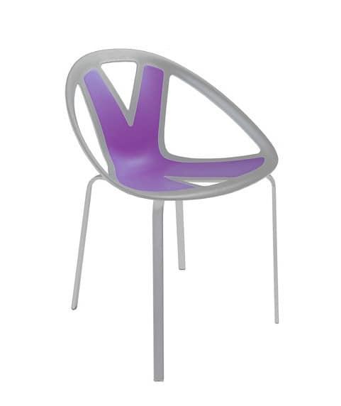 Extreme cod. 84, Stuhl mit Sitz in Kunststoff, für externe