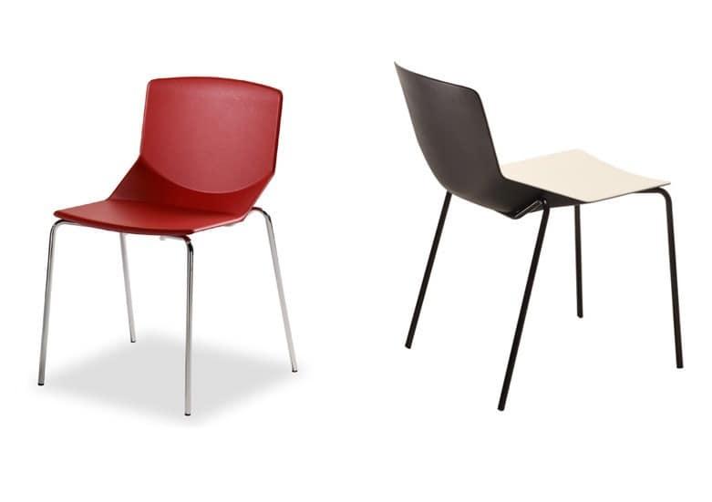 Formula tech 4L, Stapelstuhl, farbigen Polyurethan Sitz und Rückenlehne, für den Einsatz im Innen- und Außen geeignet