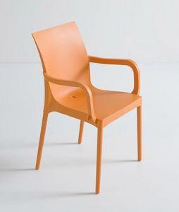 Iris B, Dauerhafter Stuhl mit Armlehnen für Garten