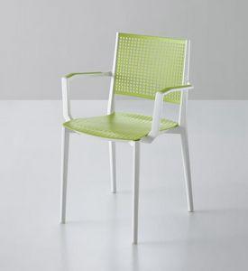 Kalipa B, Stapelbarer Stuhl mit Armlehnen, für Gärten