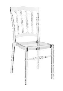 Napoleone, Transparenter Stuhl aus Polycarbonat, stapelbar