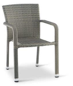 PL 730, Stuhl mit Armlehnen für den Außenbereich in gewebten Aluminium,