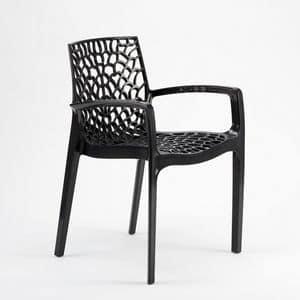 Garten im Freien Stuhl stapelbar Gruvyer Arm – S6626B, Stapelstuhl mit Armlehnen, von glänzenden Kunststoff, für innen und außen