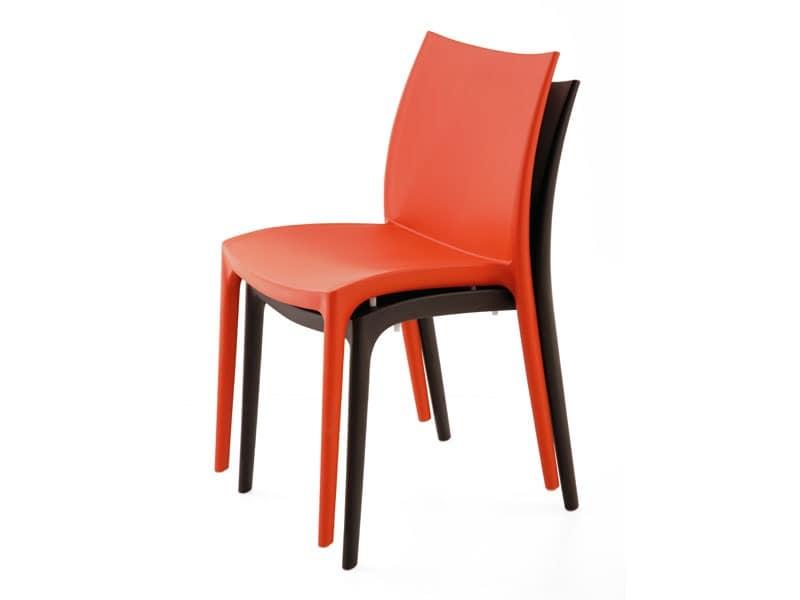 SE 161, Vollkunststoff-Stuhl in verschiedenen Farben, für die externe