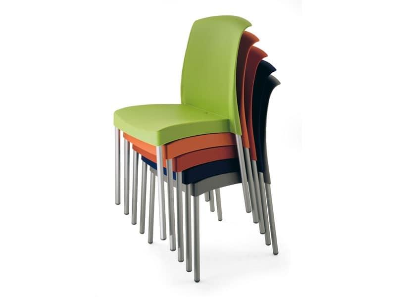 SE 2070, Stuhl aus Aluminium und Kunststoff, Gartenmöbel für den Außenbereich
