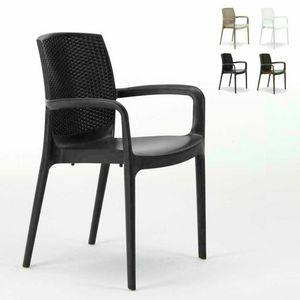 Sedia impilabile con braccioli esterno rattan – S6618, Stuhl aus hochwertigem Harz, stapelbar, für außen