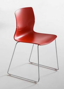 Slot S, Design Stuhl mit Kufen aus verchromtem Metall