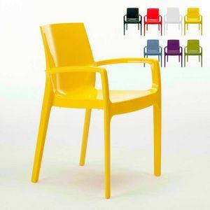 Stapelbarer Stuhl mit Armen Cream – S6617, Stuhl aus Polypropylen mit Armlehnen, robust