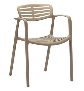 Teresa, Stuhl mit Polypropylen-Armlehnen für den Innen- und Außenbereich