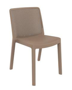 Traforata - S, Stuhl aus Polypropylen mit perforierter Rückenlehne, für den Außenbereich