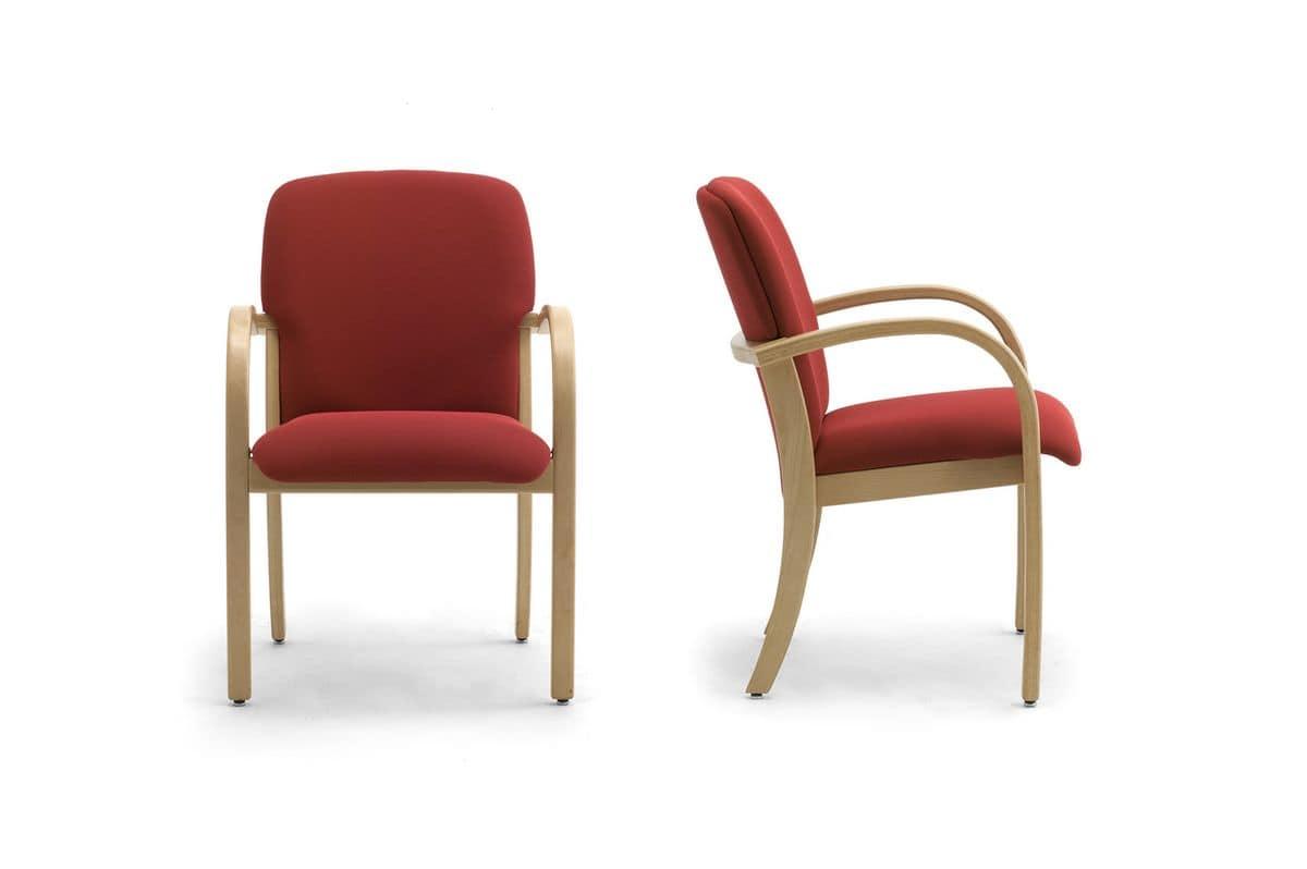 Kali 68501, Sessel aus Holz mit gepolstertem Sitz und Rückenlehne