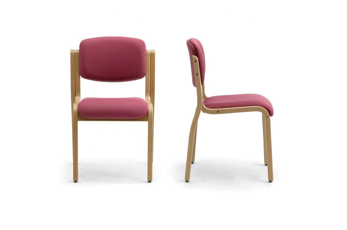 Kalos 3 169601, Gepolsterter Stuhl aus Holz, für Tagungs- und Konferenzräume