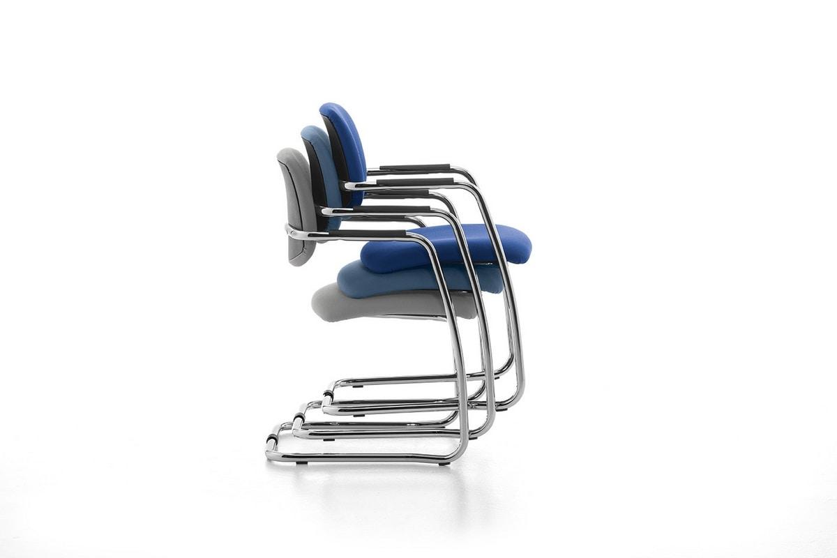 Samba 01, Stuhl auf Kufen aus verchromtem Metall für Büro-und Warteräume
