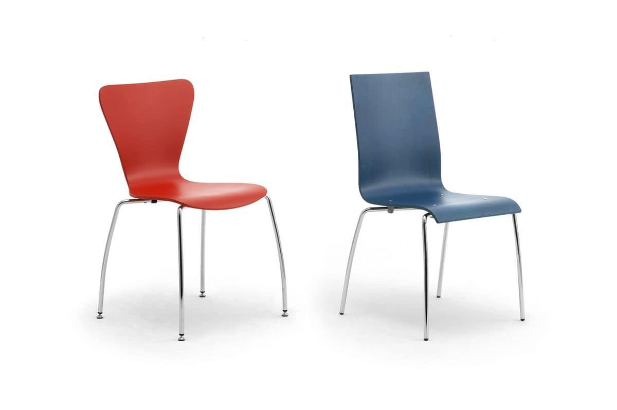 Gardena 0653LE, Stuhl aus Metall und Holz, für Büro und Warteräume