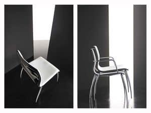 Miss 4 legs, Stuhl mit Sperrholzschale beschichtet, Chrombeine