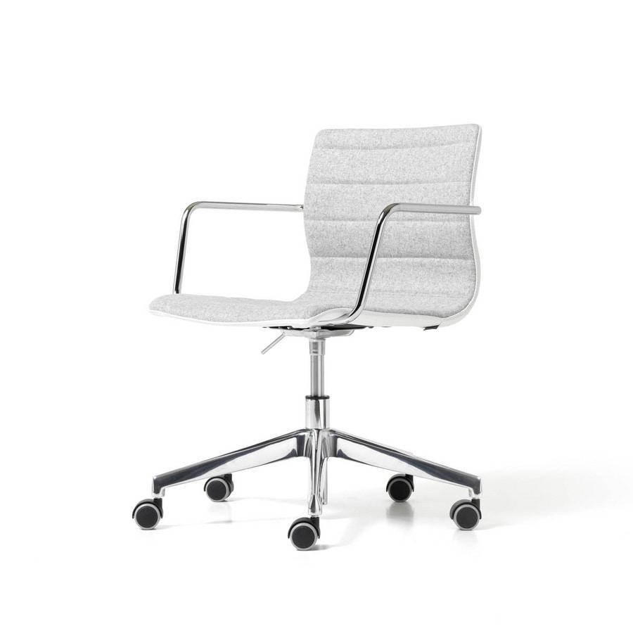 Miss gas, Drehstuhl für Büro mit Armlehnen und Räder